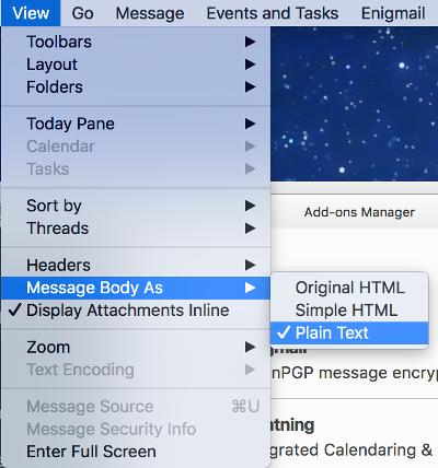 EFAIL: Thunderbird plain text mode