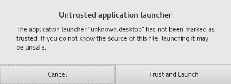 Untrusted application warning